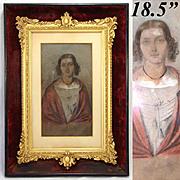 Antique Pastel Portrait in Ornate Gilt Gesso & Wood Frame: H. Muller dated 1848