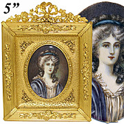 Antique French Napoleon III Era Hand Painted Portrait Miniature, Gilt Bronze Empire Style Frame