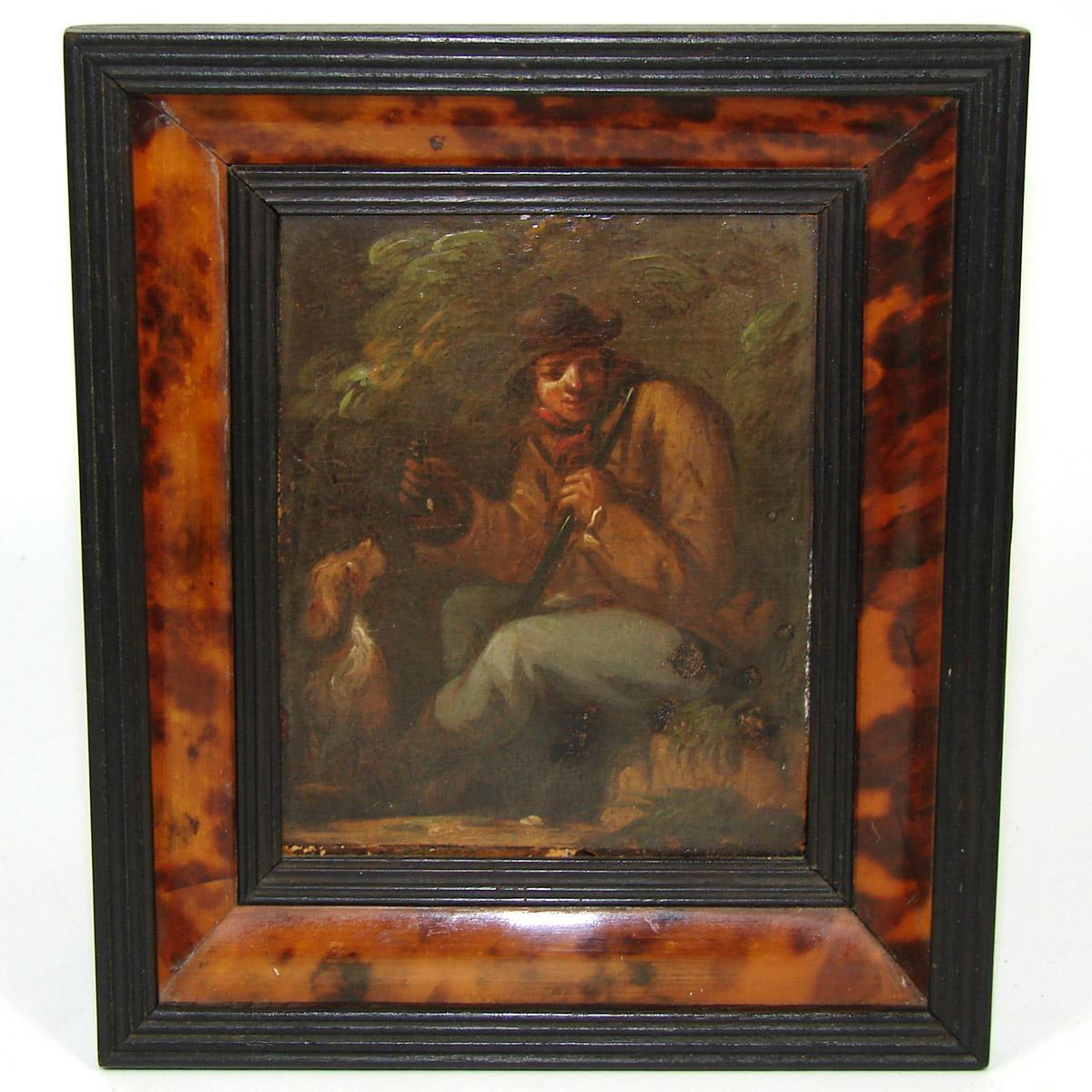 Fabulous Antique Early 1800s Flemish or Dutch Miniature Oil Painting, Hunter with Rifle & Dog