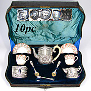 Fabulous Antique English Sterling Silver Bachelor's or Tete-a-Tete Sized Tea Set, Spode Cups & Saucers, Original Fitted Storage Chest