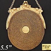Gorgeous Antique to Vintage Vermeil Sterling Silver Mesh Purse, Handbag, Art Nouveau Floral Frame