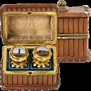 Antique French Grand Tour Souvenir Scent Box, Casket, Perfume - Eglomise Views Paris