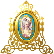 Gorgeous Antique Sevres Porcelain Portrait Plaque in Pierced Bronze Frame, Mme Elisabeth