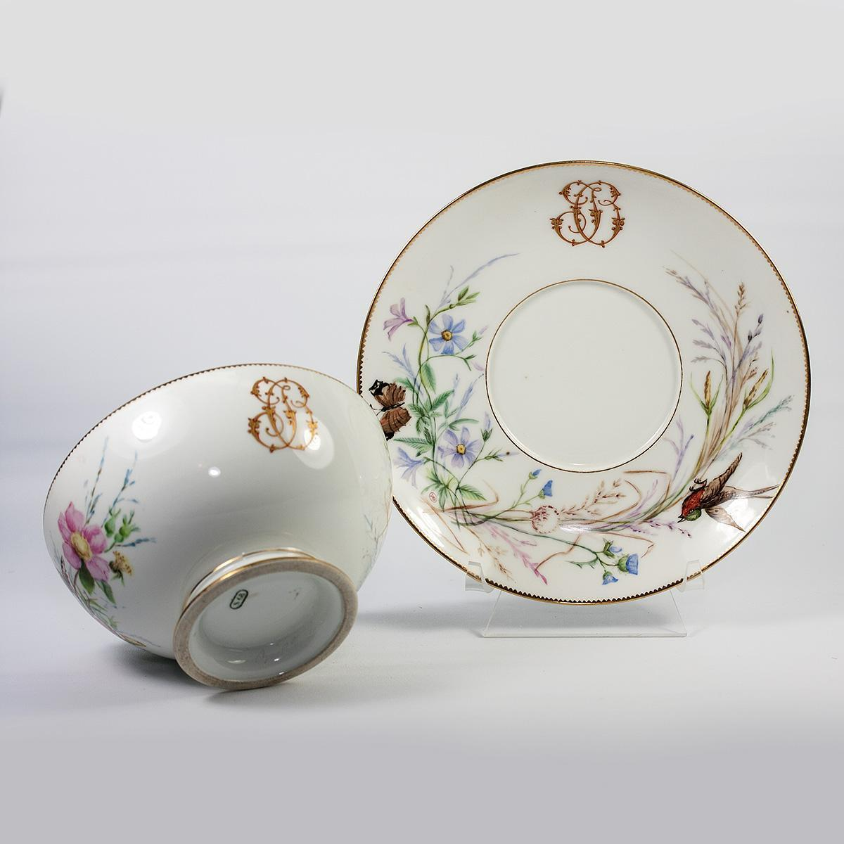 Antique Sevres Hand Painted White Porcelain Service Bowl and large Saucer, c.1874 Marks, Raised Gold Monogram
