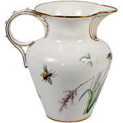"Antique Sevres Hand Painted White Porcelain 4.75"" Tall Cream Pitcher c.1875 Marks, Bee & Dragonflies"