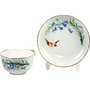 Antique Sevres Hand Painted White Porcelain Chocolate or Tea Cup and Deep Saucer, c.1874 Marks