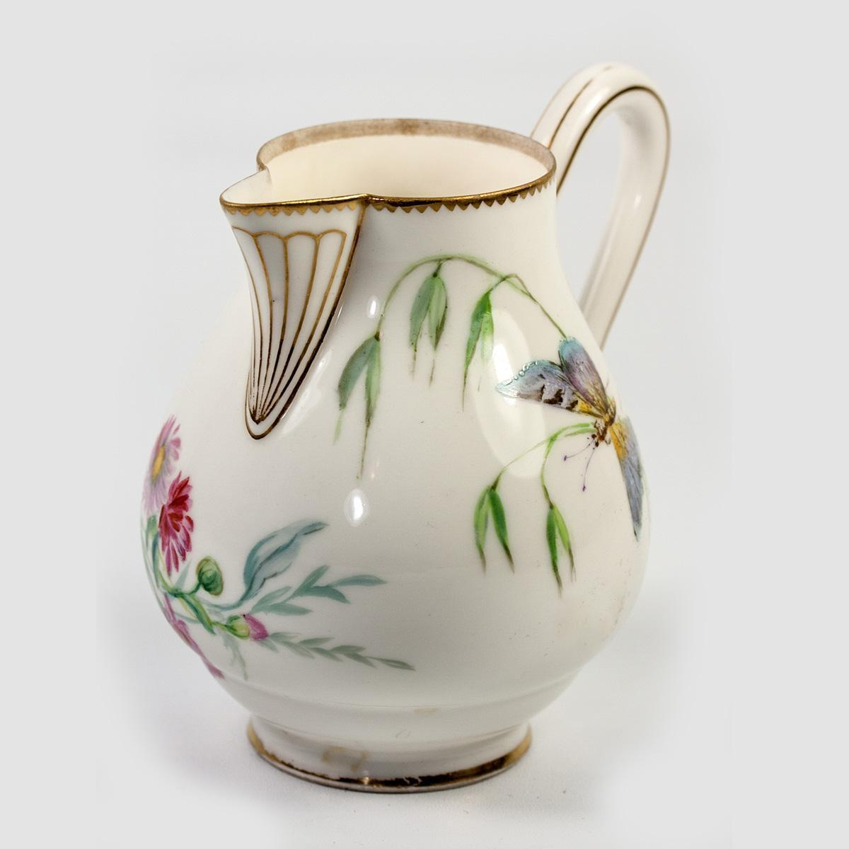 """Antique Sevres Hand Painted White Porcelain 4.25"""" Tall Cream Pitcher c.1875 Marks"""