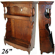 "Antique French 26"" Tall Wall Cabinet, 1700s, Walnut, Perfect Display or Accent Shelf"
