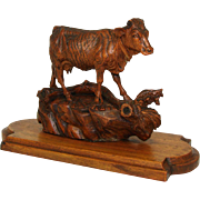 "Delightful & Rare Antique Swiss Black Forest Carved Cow Figure, on 8.5"" Wood Plinth"