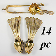 Antique French Sterling Silver & 18k Gold Vermeil Tea Set, 14 Pc, Caddy Spoon, Tongs, 12 Spoons