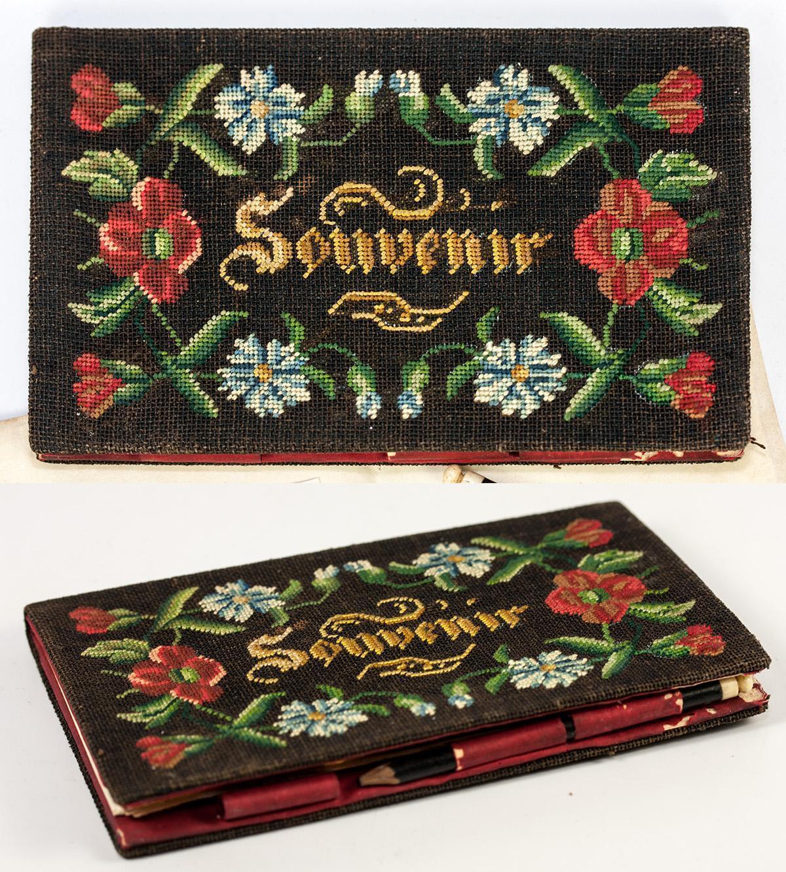Antique French Petitpoint Tapestry Necessaire, Carnet du Bal, Souvenir, 1838 Calendar