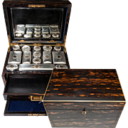 RARE Huge 19th C. English Sterling 15k Gold & Crystal Travel Vanity Set in Coromandel Chest, E.C