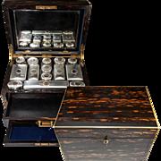 RARE Huge 19th C. English Sterling 15k Gold & Crystal Travel Vanity Set in Coromandel Chest, E.C