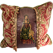 Wonderful Hand Painted Oil Portrait of Queen, Leather set into Lush Victorian Style Throw Pillow