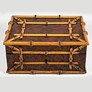 Antique Victorian Burled Wood and Bamboo Jewelry Box, Casket, Coffret, c.1870s