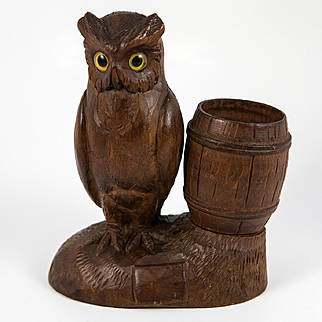 Antique Hand Carved Black Forest Owl Match Holder, Toothpick, Inkwell or Open Salt, Glass Eyes, c. 1915 #1