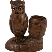 Antique Hand Carved Black Forest Owl Match Holder, Toothpick, Inkwell or Open Salt, Glass Eyes, c. 1915 #1
