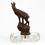 Antique Hand Carved Black Forest Bracket Double Open Salt with Mountain Goat, c.1880s - 1915