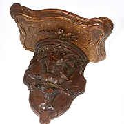 Antique Hand Carved Black Forest Bracket or Wall Shelf with Fox and Forest, c.1860s-80s