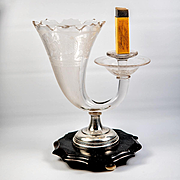 Antique Bohemian Engraved Glass & Sterling Silver Cigar & Match Stand, Server - Fabulous!
