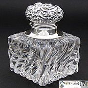 "Antique Sterling Silver & Baccarat Swirled Glass or Crystal 3 7/8"" Inkwell, Rococo, Seashell"