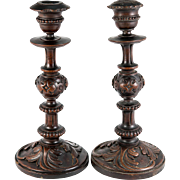 "Antique French Oak Carved Candle Holders, PAIR, Neo-Gothic and 11"" Tall"
