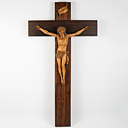"""Antique Hand Carved BlackForest or French Crucifix, Christ Corpus, 14"""" Tall"""