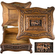 RARE Antique Hand Carved Black Forest or French Chest, Box, Casket with Horses on Plaque