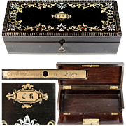 Antique French Charles X Marquetry Jewelry or Gloves or Documents, Jewelry Box,  Lock Plate, c.1830-40