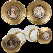 Pair: Antique French Vanity Jars, Dore Bronze & Crystal, Marie-Antoinette Miniature