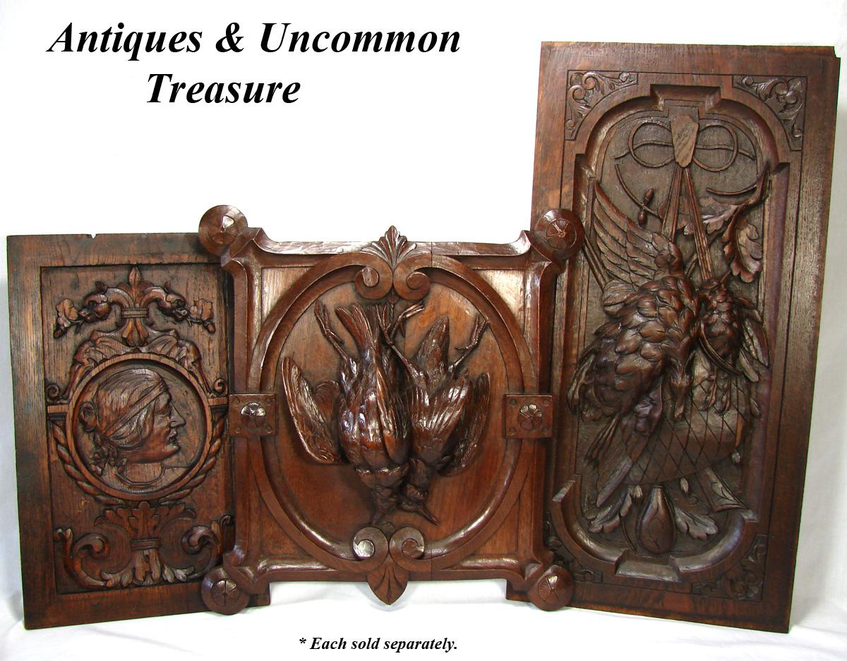 Antique Victorian Carved Cabinet Door Panel Wall Plaque With