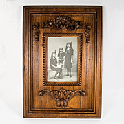 Antique Hand Carved French Cabinet Card Frame, Bow and Acanthus, Photo of 3 Beautiful Children