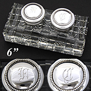"Superb Antique American Brilliant Cut Crystal & Sterling Silver 6"" Double Inkwell, Facet Cut Base, Monograms"
