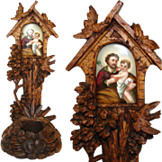"Antique Black Forest Carved 9"" Altar Style Benitier or Holy Water Font, Porcelain Painting of Joseph & Child"