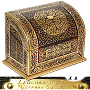"""RARE Antique French Leuchars & Son Ornate Boulle Marquetry 11"""" Stationery Box, Casket, Exceptional !"""