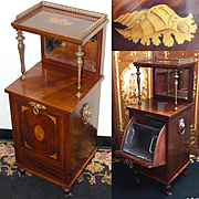 "Rare Antique Victorian 37.5"" Cabinet Style Rosewood Coal Scuttle or Purdonium, Seashell Marquetry Inlay, Lion & Ring Handles, Beveled Mirror"