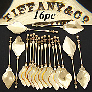 RARE Antique Tiffany & Co. 14k Gold on Sterling Silver 16pc Ice Cream Spoon Set, 1853-1869 J.C. Moore Hallmarks