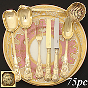 RARE c.1840 Antique French 18k Gold on Sterling Silver Vermeil 75pc Dessert Flatware Set, Rocaille Seashell Pattern