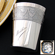 "Antique French Sterling Silver Wine or Mint Julep Cup, ""Timbale"" with Guilloche Decoration & ""Madeleine"" Inscription"