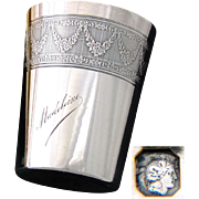 "Antique French Sterling Silver Wine or Mint Julep Cup, Tumbler ""Timbale"" with Guilloche Decoration & ""Madeleine"" Inscription"