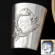 """Antique French Sterling Silver Wine or Mint Julep Cup, """"Timbale"""" Rocaille Medallion & """"Jean 113"""" Inscription"""