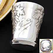 """Antique French Sterling Silver Wine or Mint Julep Cup, """"Timbale"""" with Foliate Decoration & """"Fernande"""" Inscription"""