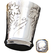 "Antique French Sterling Silver Wine or Mint Julep Cup, ""Timbale"" with Foliate Decoration & ""Fernande"" Inscription"