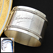 """Elegant Antique French Sterling Silver 2"""" Napkin Ring with """"Simonne"""" Engraving or Dedication"""