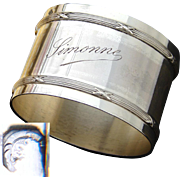 "Elegant Antique French Sterling Silver 2"" Napkin Ring with ""Simonne"" Engraving or Dedication"