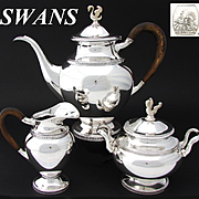 Elegant Vintage Belgian .835 (nearly sterling) Silver 3pc Coffee or Tea Set, SWAN Figural Finials