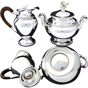 Additional images for 317swanset, Elegant Vintage Belgian .835 (nearly sterling) Silver 3pc Coffee or Tea Set, SWAN Figural Finials