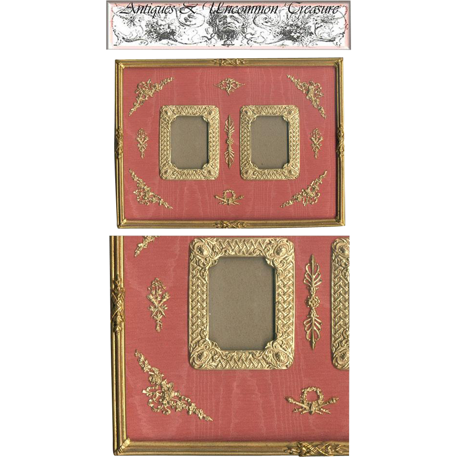 HUGE Antique French Empire (Nap III) Dore Bronze Double Frame, Ormolu