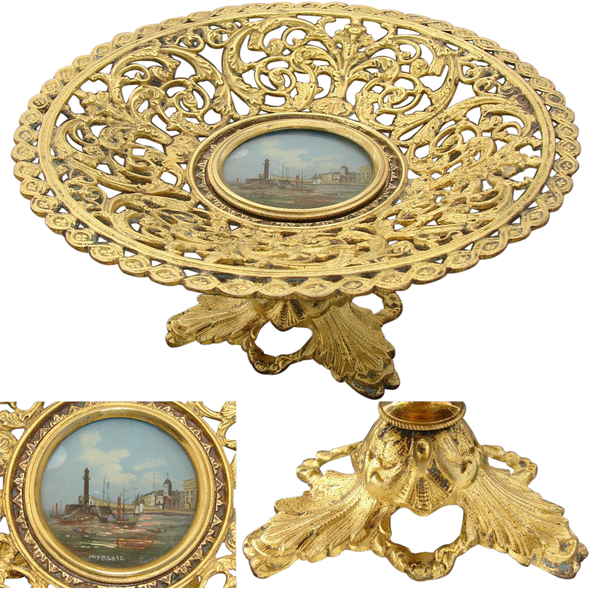 Antique Grand Tour Souvenir Card or Cake Tray: Margate, UK Eglomise Painting