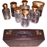 Opulent 1931 London Gilt Sterling Silver Vanity Travel Case, Cordovan Leather